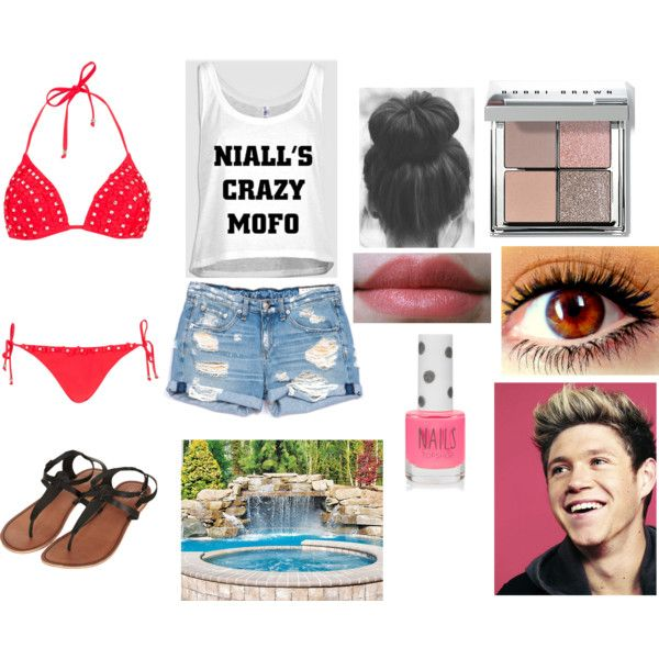 Pool party with Niall by acma-1 on Polyvore featuring moda, rag & bone/JEAN, River Island, Topshop, Bobbi Brown Cosmetics and Typhoon