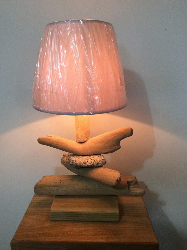 Lampe en bois flotté-galet 8