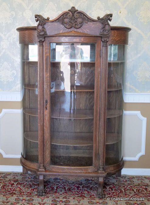 Antique Carved Quartered Oak Victorian Curved Glass Curio Display Cabinet C1890 Antique Furniture For Sale Antique Furniture Antiques