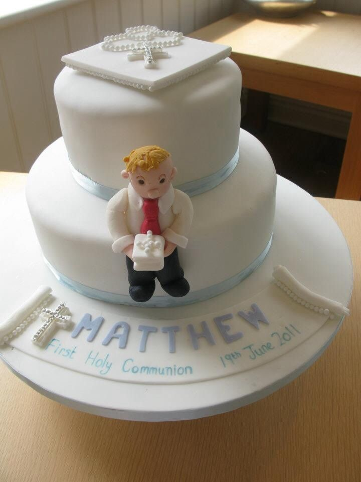 Two tier first holy communion by mrsspendlovescakes.co.uk
