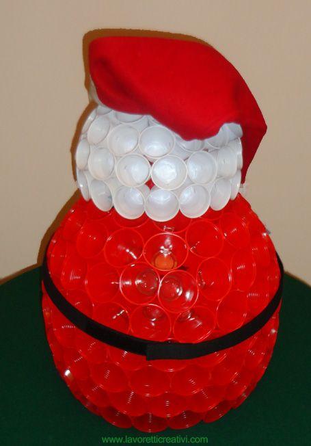 Babbo Natale Fatto Con I Bicchieri Di Plastica.Babbo Natale Con I Bicchieri Di Plastica Ujrahasznositas