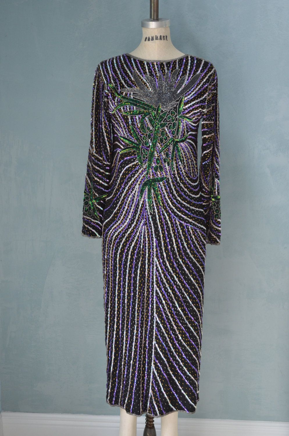 Vintage 70s Bohemian Hypnotic Sequin Tea Party Dress Free Shipping ...