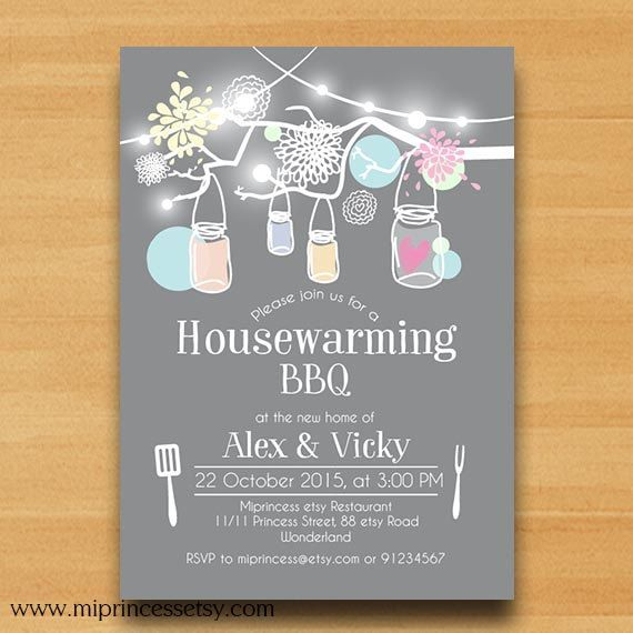 Housewarming Invitation Bbq Invitation New House Mason Jar Bbq