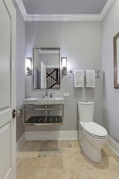 Wall Color Pelican Gray 1612 By Benjamin Moore Hawthorn Woods Home Addition Transitional Powder Room Chicago Airoom Architects Builders