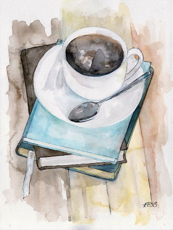 Coffee mug painting print from original by for Coffee watercolor
