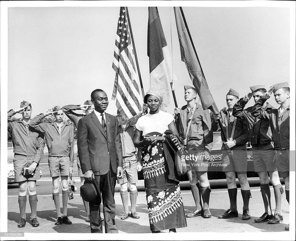 Contingent of Boy Seoul- salutes John Foncha, vice president of Cameroon, as he visits World's Fair with his wife Foncha was presented special medallion by former Lt. Gov. Poletti, vice president of the Fair. June 05, 1964. (Photo by Jerry Engel/New York Post Archives / (c) NYP Holdings, Inc. via Getty Images)