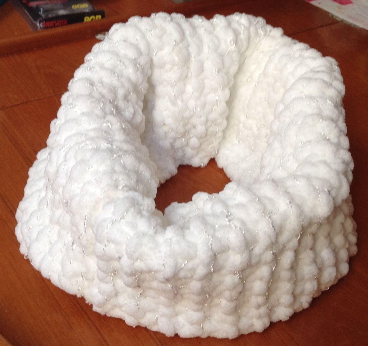 SNOOD en laine velours blanche : Echarpe, foulard, cravate par les-petites-mains-de-joss