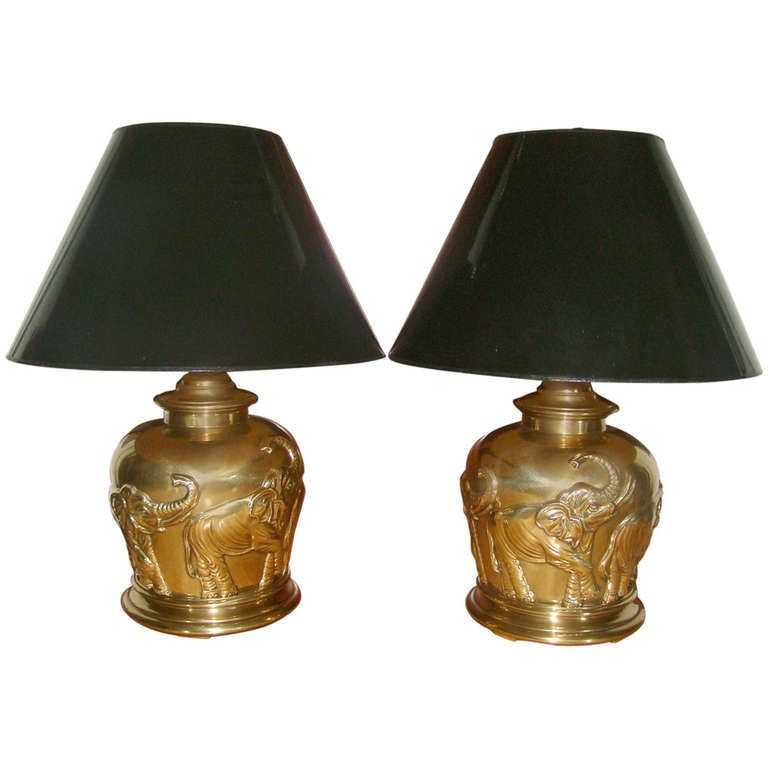 Pair Of Frederick Cooper Brass Elephant Table Lamps 1stdibs Com Elephant Table Lamp Lamp Table Lamp