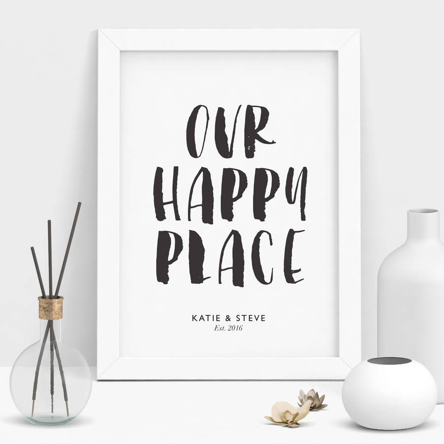 Not On The High Street Wedding Gifts: 'Our Happy Place' Personalised Print In 2019