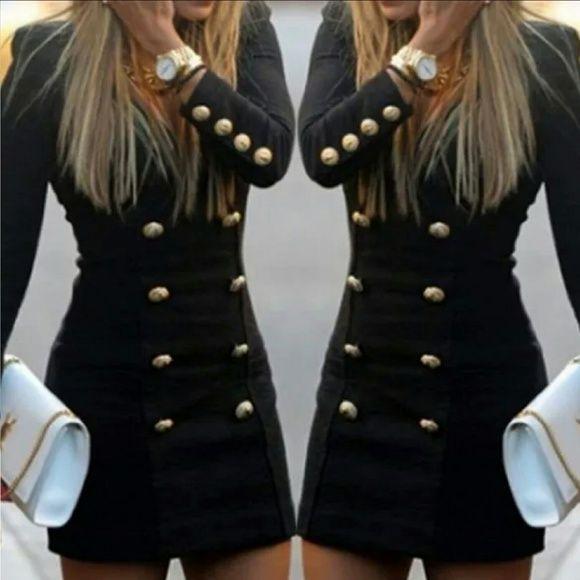 Gold Buttoned Black Mini Dress Jacket Style Mini dress with gold button accents Dresses Mini