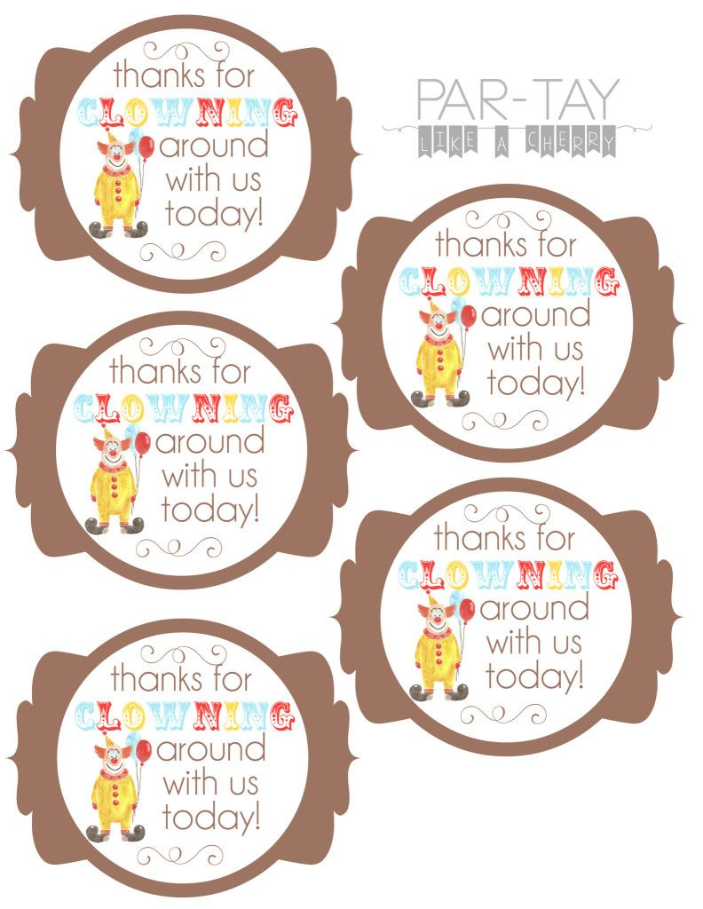 Circus party favor tags party favor tags circus birthday and circus party favor tags negle Image collections