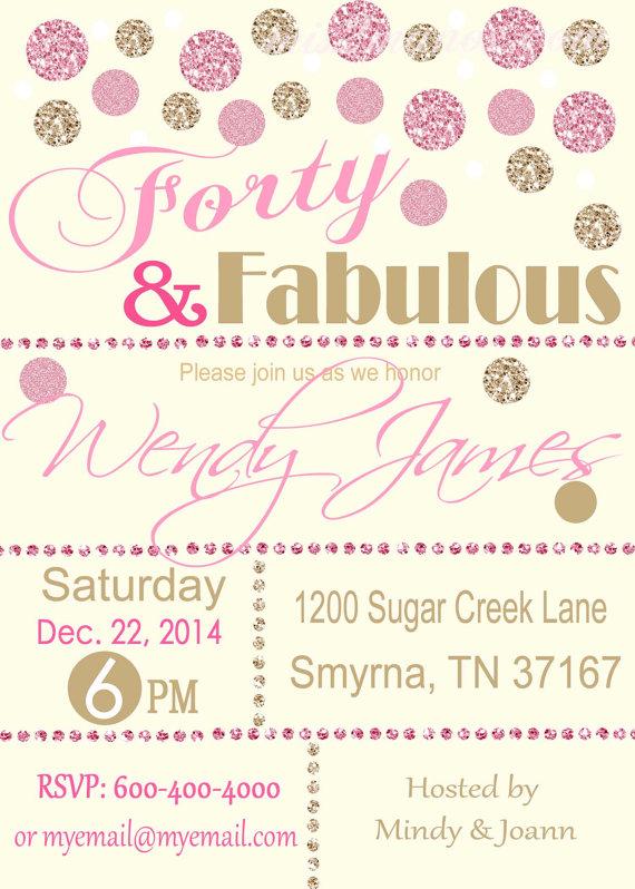 Forty and Fabulous birthday invitation women Glitter Glam Chevron - sample invitation wording for 60th birthday