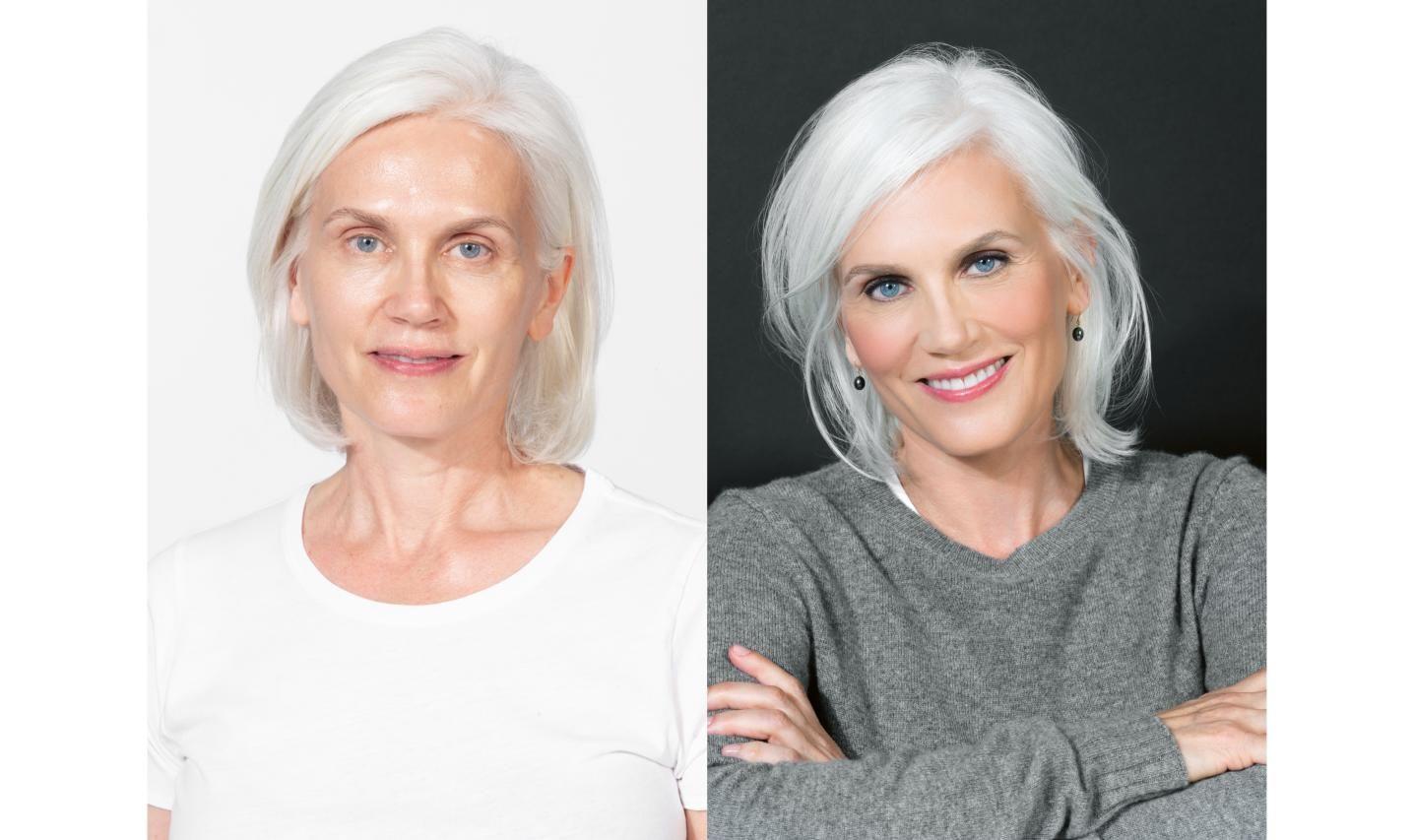 Bobbi Brown S Beauty School Perfect Makeup For Gray Hair Justbobbi Icy Blonde Hair Perfect Makeup Hair