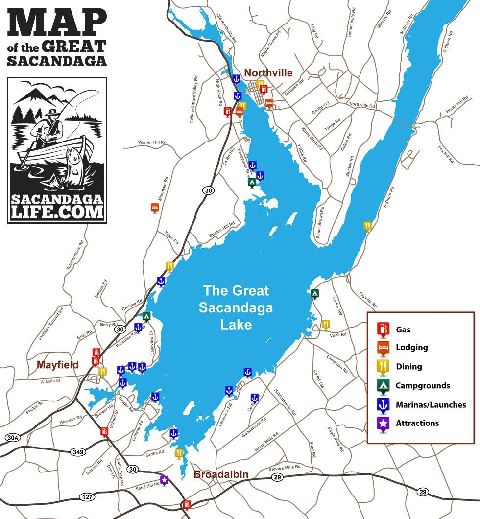 Know your way around, so much to see and do in the Sacandaga area - Great Sacandaga Lake Map