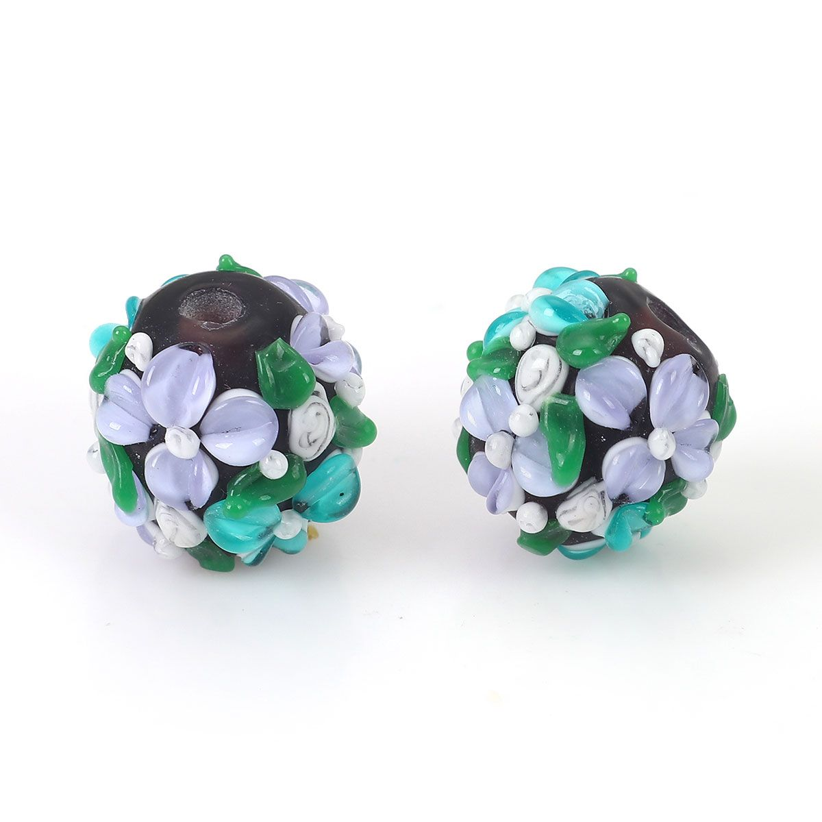 Lampwork Glass Flower Beads for Jewelry Making, Purple Orchids with Leaves