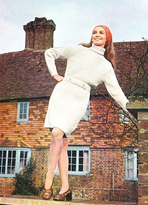 Patons Aran Look No. 161 knit fashion. 1960s