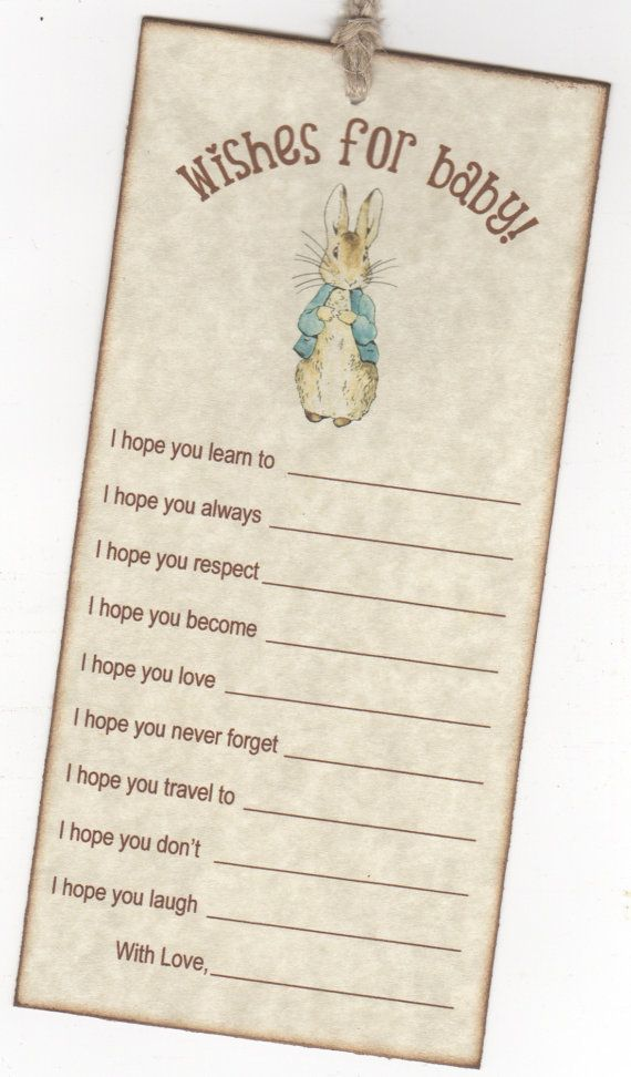 10 Peter Rabbit Wish Cards Baby Shower Wish Advice By Luvs2create2