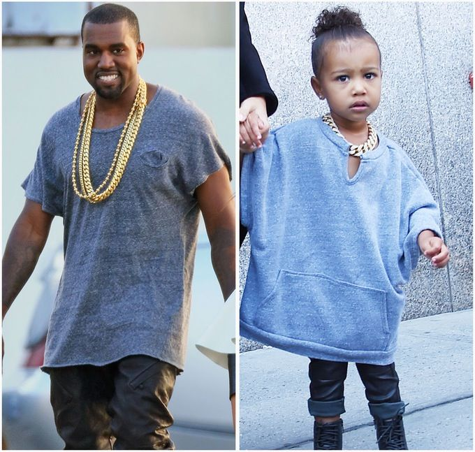 North West Is Dad Kanye West S Mini Me In A Baggy Shirt And Gold Chain North West Kardashian Kanye West Baggy Shirts
