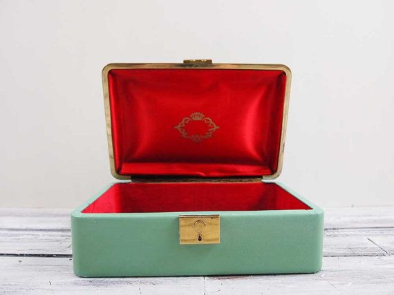 Vintage Seafoam Green Jewelry Box by SalvageLoveOnEtsy on Etsy