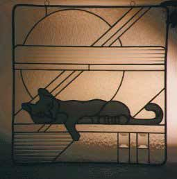 Stained Gl Cat Window