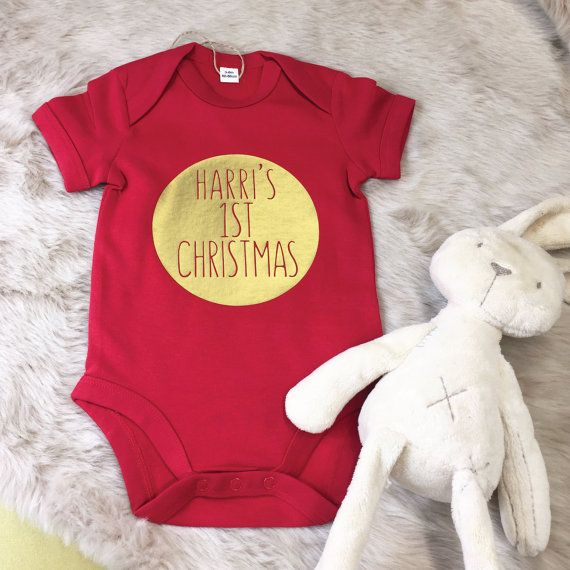 First Xmas Baby Bodysuit Personalised 1st Christmas Outfit With Baby/'s Name