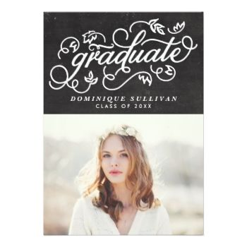 Whimsical Floral Script Chalkboard Graduation Card