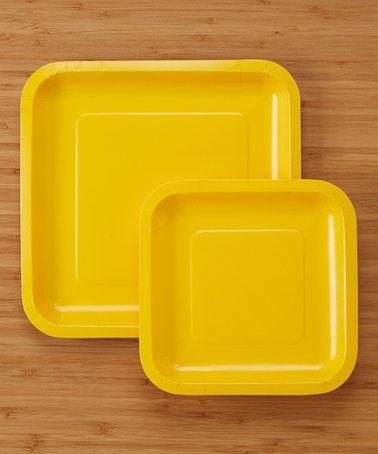 Look what I found on School Bus Yellow Large \u0026 Small Square Plate Set & Look what I found on #zulily! School Bus Yellow 36-Piece Large ...