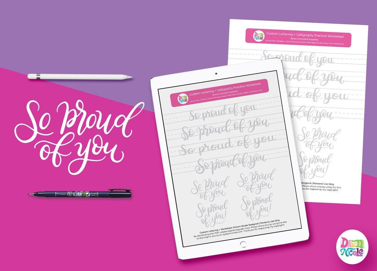So Proud Of You Brush Calligraphy Practice Sheets