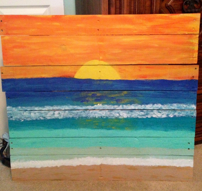 Beach Sunset Painting On Pallet Wood Beach Sunset
