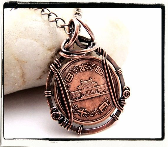 Rare Japanese Copper Foreign Coin Pendant with Chain