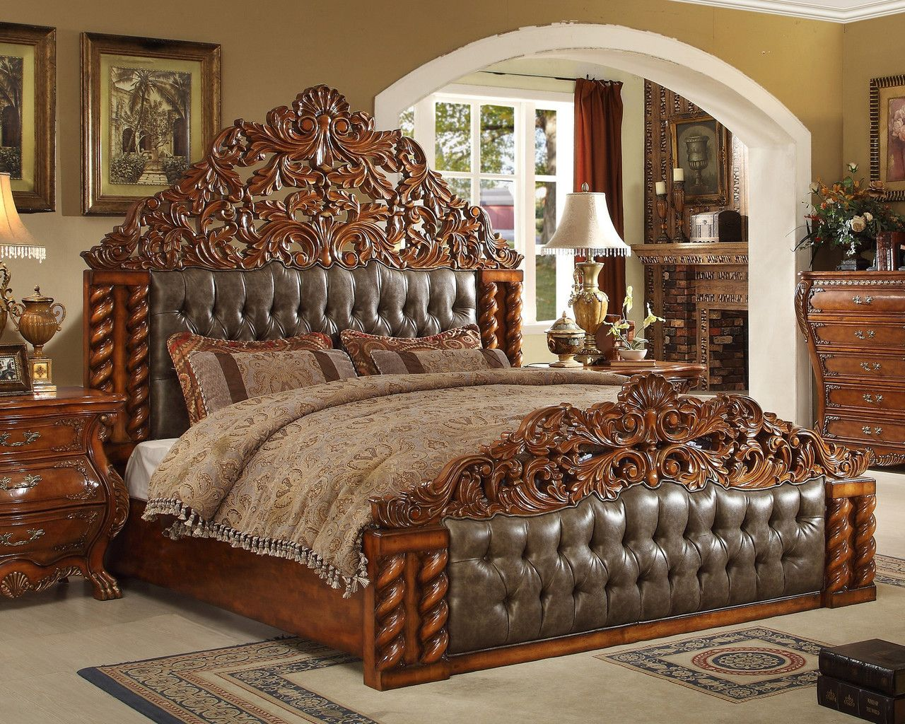Homey Design Hd 20131 Victorian European Cal King Bed King Bedroom Sets Victorian Bed Luxurious Bedrooms