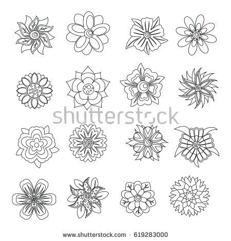 Different flowers icons set. Outline illustration of 16