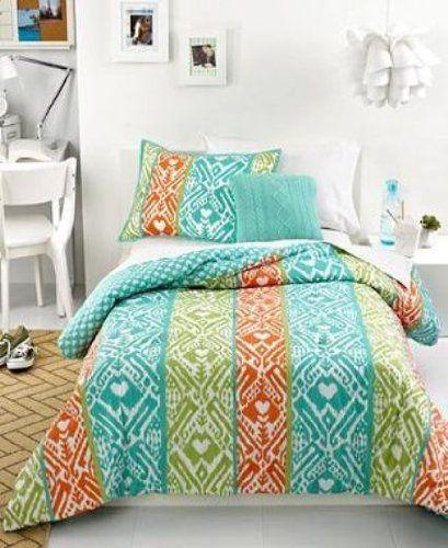 Jenni Bedding, Marci Full / Queen Orange, Lime Green & Turquoise Blue  Comforter Set