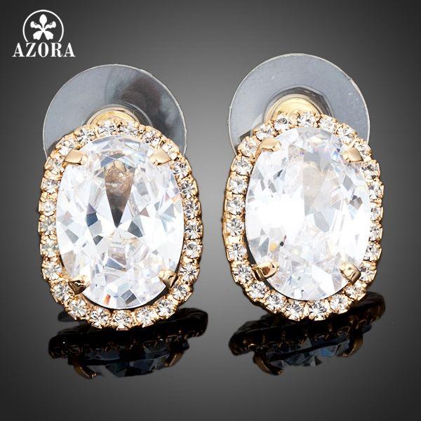AZORA TE0003 pendientes de Cristal Austriaco Stud Pendientes Oro Plateado Claro Grande