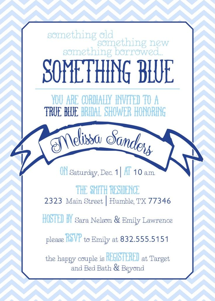 something blue shower invites Chevron Something Blue Bridal - bridal shower invitation samples