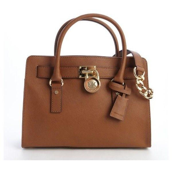 f7678b234e0f MICHAEL Michael Kors Camel brown leather 'Hamilton' logo lock clasp...  found on Polyvore