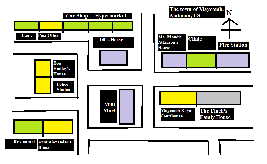A Map of Maycomb, Alabama setting of To Kill A Mockingbird #TKAM ...