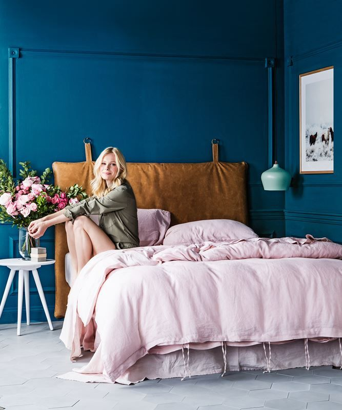 """**Moody romantic** Mix different textures like sumptuous linen and natural leather with dramatic blue-green walls for a sophisticated, intimate space. Piper **bedhead**, $1470, from [Heatherly Design Bedheads](http://www.heatherlydesign.com.au/?utm_campaign=supplier/ target=""""_blank""""). Linen **quilt cover set** in Blush (includes 2 pillowcases), $269 for queen, flat sheet in Blush, $140 for queen, all from [I Love…"""