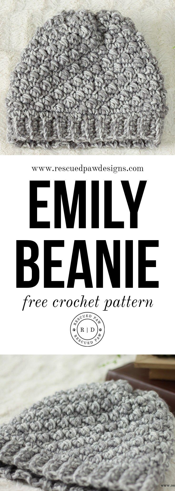 Emily Diagonal FREE Beanie Crochet Pattern | Gorros, Capuchas y ...