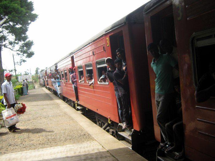 Crowded train in Sri Lanka