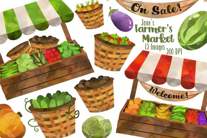 Watercolor Farmer S Market Clipart 184198 Illustrations Design Bundles Fruit Stall Farmers Market Clip Art