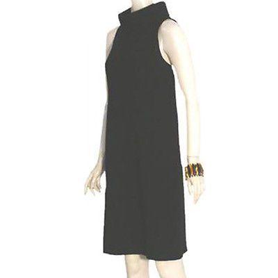 Pianoforte Di Max Mara Black 60s Style Dress Italy Standup Collar