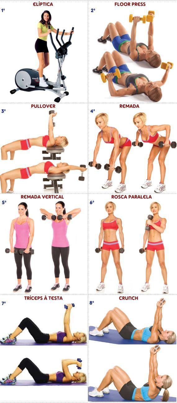 Treino de musculação com halteres para mulheres  b7b91ee7fb5e7