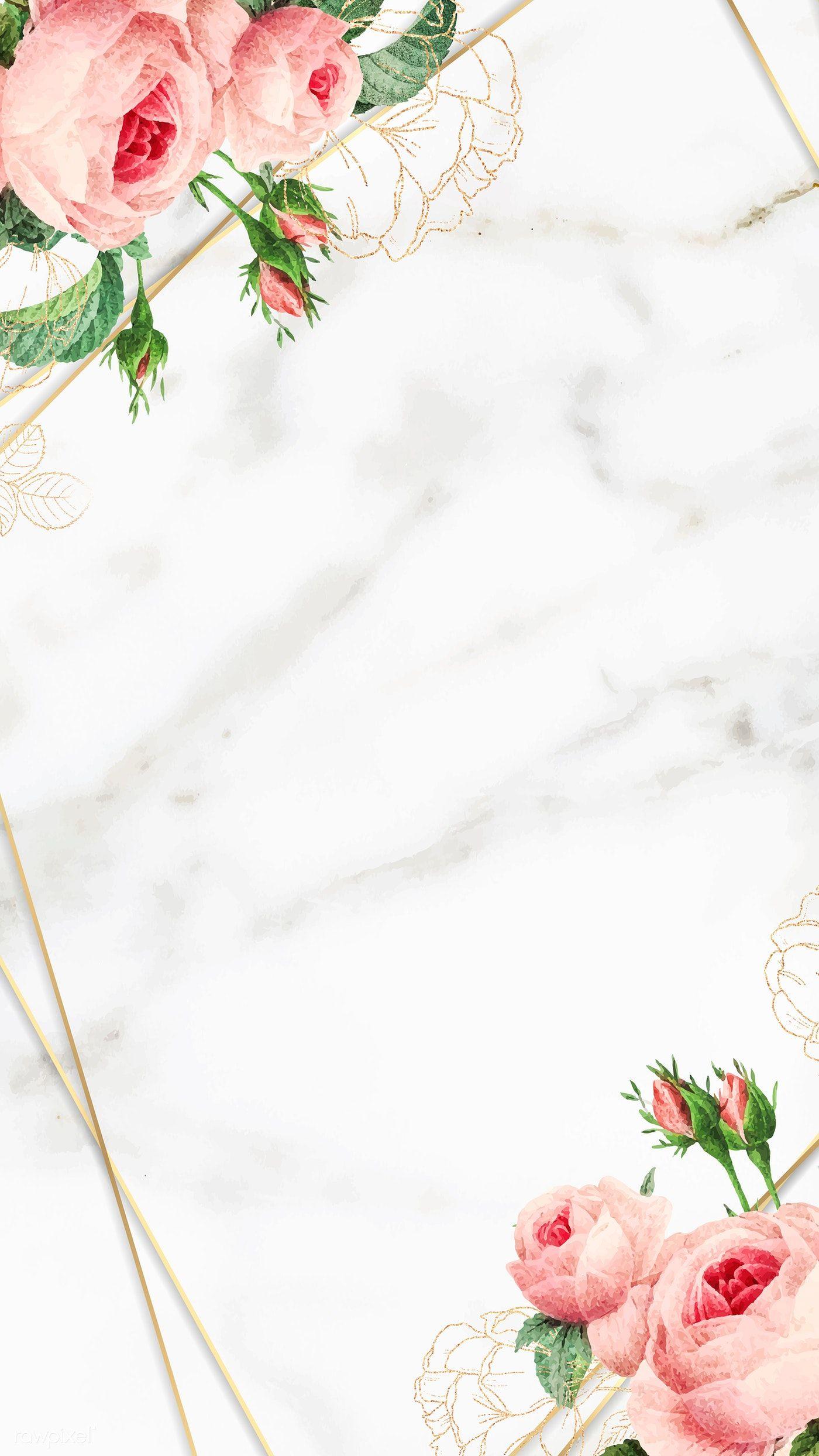 Download Premium Vector Of Golden Floral Marble Frame Vector