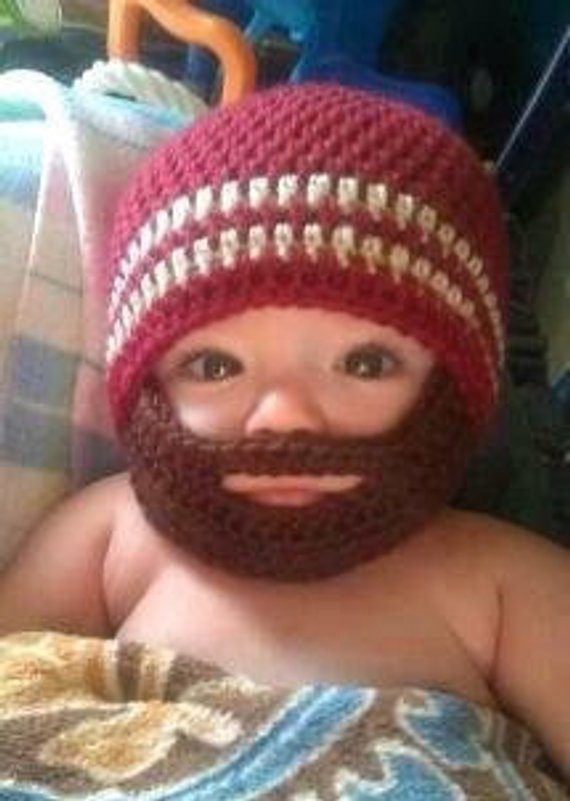 84135a43b79 Crochet Baby Boy Beanie with Beard Hat - 3 months to 10 years - Autumn Red  and Bone with Chocolate B