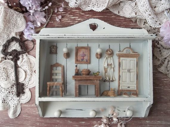 Lobby Key Shaped Holder Organizer Wall Hanging Big Wood/Hall Rack Shabby Cottage Chic Miniature Doll Decor Gift Farmhouse White