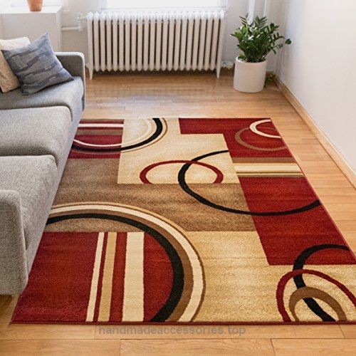 Deco Rings Red Geometric Modern Casual Area Rug 7x10 67