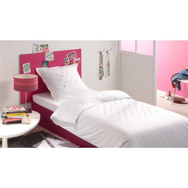 housse de couette percale 80 fils cm blanc brod e blanc cerise prix avis notation. Black Bedroom Furniture Sets. Home Design Ideas