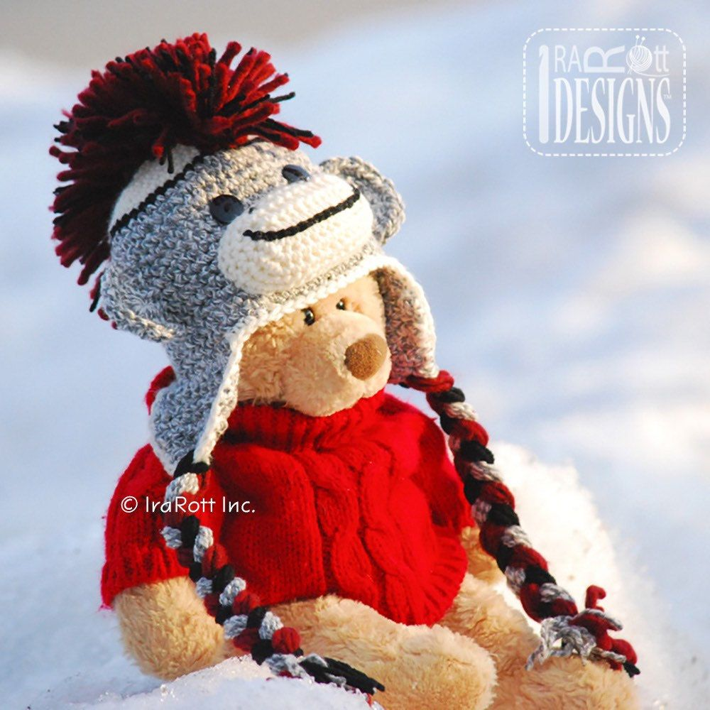 Sock monkey hat with cranberry red & black Mohawk... Love this color ...
