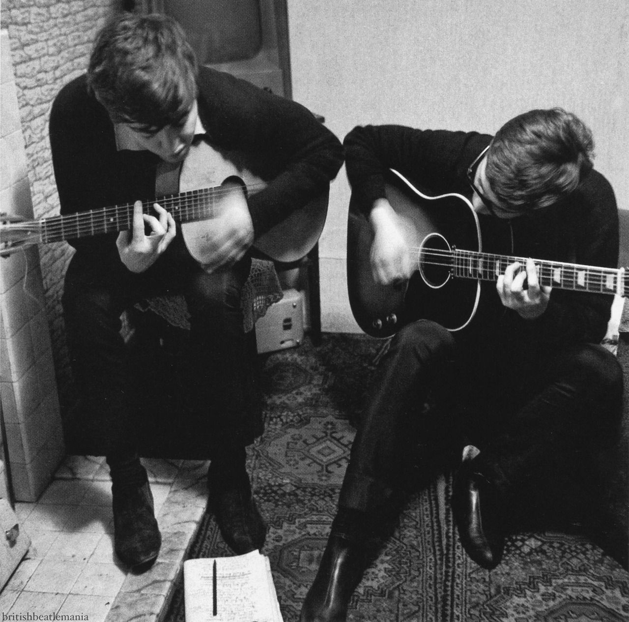"austinkleon ""Paul McCartney and John Lennon writing ""I"